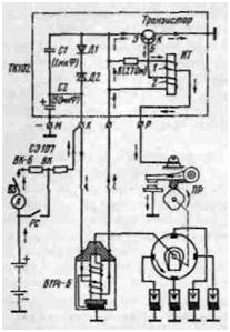 Схема контактно-транзи-сторной системы зажигания: ТК 102 транзисторный коммутатор с зажимами М, К. Р и одного зажима...