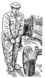 Подкачивание воздуха в шину переднего колеса шинным насосом