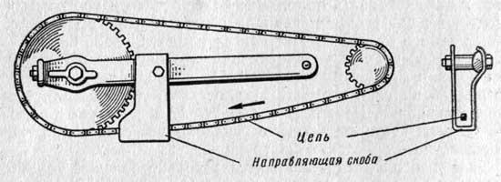 Постановка направляющей скобы для задней цепи