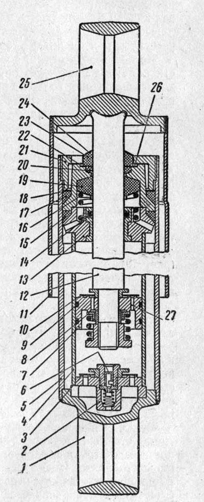 Разрез амортизатора автомобиля ГАЗ-53А