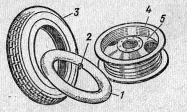 Диск колеса с глубоким ободом и шина