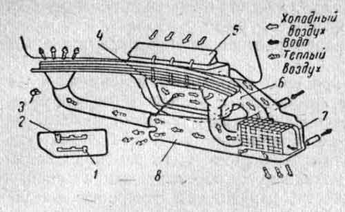 Схема отопления, вентиляции кабины и обдува ветрового стекла.