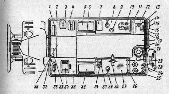 Схема размещения оборудования в кузове МТО-АТ